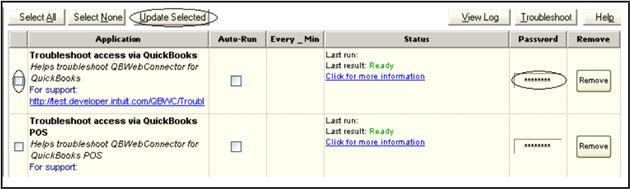 QuickBooks WebConnector